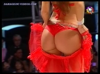 Silvina Luna big booty in red thong