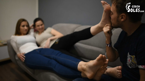 Two girls foot worship