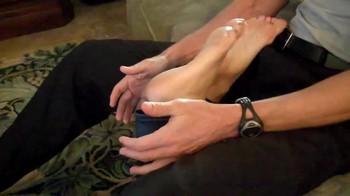 Sneak under mature feet footjob
